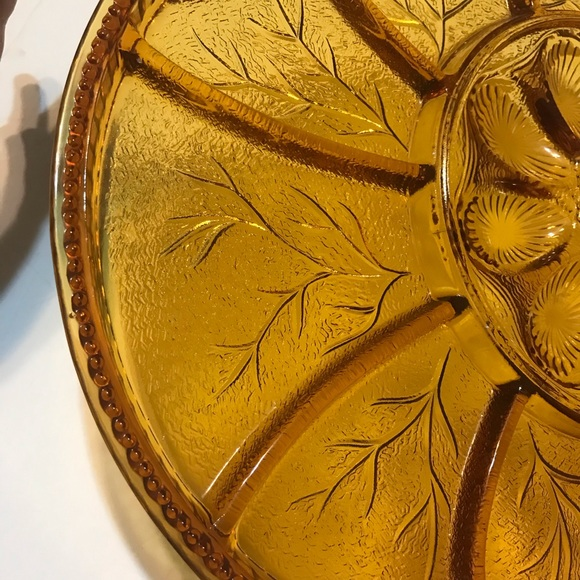 AMBER RELISH PLATE-Divided Snack Dish-Tidbits-Appetizers-Vintage Retro 1940s-Entertaining-Celebration-Gathering-Party-Home D\u00e9cor-Affordable